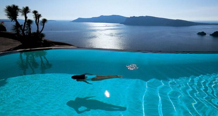 santorini oia pool Perivolas