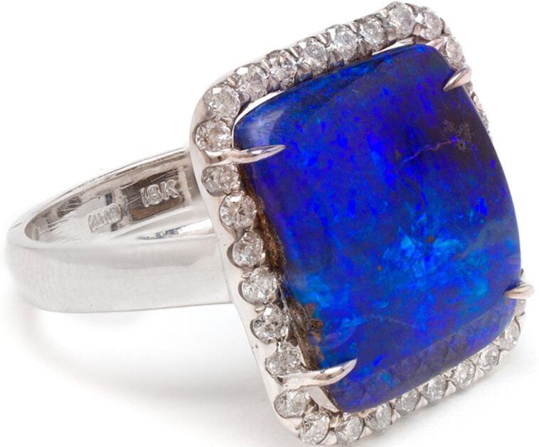 18k white gold ring from Kimberly McDonald side view