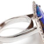 18k White Gold, Boulder Opal and Diamond Ring